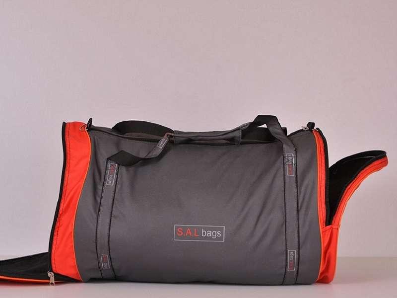 Большая круглая спортивная сумка серая