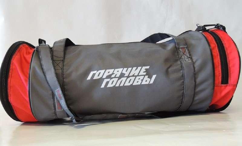 Круглая спортивная сумка серая Гор.головы